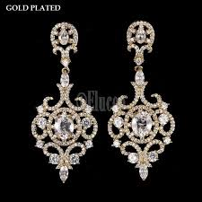 clear earrings clear cubic zircon dangle earrings gold