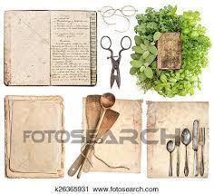 vieux livre de cuisine banques de photographies ustensiles cuisine antiquité livre