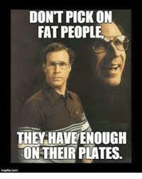 dont pick on fat people the have enough on their plates meme on