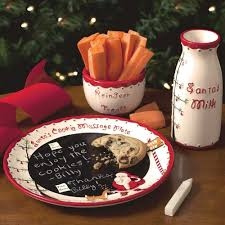 santa plate set christmas cookie tray milk cup holidays chalkboard