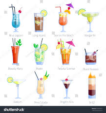 mixed drink clip art set alcoholic cocktails isolated on white stock vector 528532267