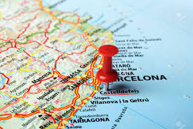 Tarragona Spain Map by Close Up Of Castelldefels Spain Map And Red Pin Travel Concept
