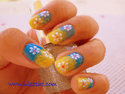 sponge nail art u2013 free hand nail art designs in yellow and blue