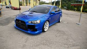 mitsubishi evolution 10 stance blue and white combo pacg 2016