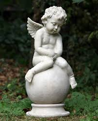image detail for garden cherub seated on garden