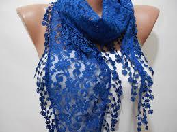 monaco blue lace cowl scarf shawl with lace edge cobalt blue