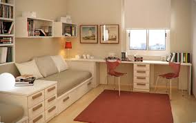 kids bedroom neat long desk for with cream finish in room intended