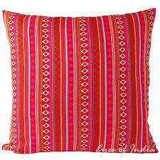 red dhurrie decorative bohemian boho indian throw pillow cushion