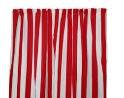 Red And White Striped Curtain Red Stripe Curtains Etsy