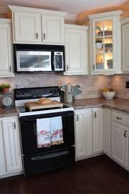 Kitchen White Cabinets Black Appliances Cream Kitchen With Black Appliances Hand Painted Cream Kitchen