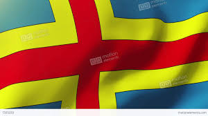 Flag Yellow Sun Aland Islands Flag Waving In The Wind Looping Sun Rises Style