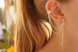 earring with chain to cartilage the ear cuff
