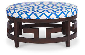 blue and white ottoman percy cocktail ottoman navy white tweed ottomans living room