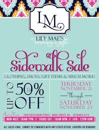 mae s boutique and gifts sidewalk sale flyer and poster