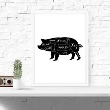 Kitchen Wall Art Decor by Butcher Diagram Kitchen Wall Art Pig Decor Cuts Of Meat