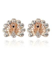 peacock design earrings in gold cheap rhinestone peacock earrings find rhinestone peacock