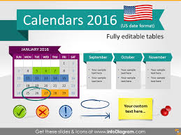 calendars 2016 timelines graphics us format ppt tables and icons