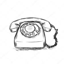 vector sketch illustration old rotary phone u2014 stock vector