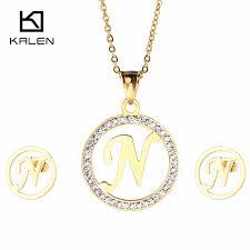 kalen 2017 new cheap capital letter jewelry set women rhinestone