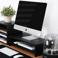 Computer Desk With Storage Space Clear Black Tv Or Computer Gaming Monitor Riser With Drawers