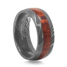 damascus steel wedding band men s arbor wood grain damascus steel ring by lashbrook