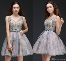 printed new designer short prom dresses see through top v neck