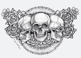 rose skull tattoo design by mokheir35 on clipart library clip