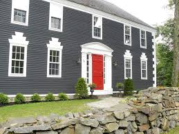 grey house with black shutters and red door jpg homeyishness
