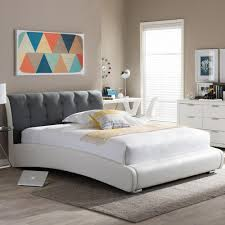 King Size Beds Baxton Studio Madison Transitional White Faux Leather Upholstered