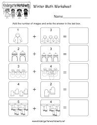 free printable winter math worksheet for kindergarten