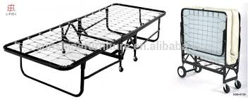 Metal Folding Bed Cheap Portable Single Size Metal Wooden Slat Folding Bed Bedstead