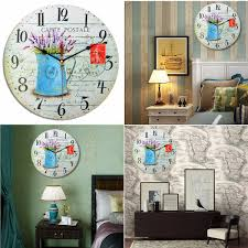 wooden round wall clock vintage rustic style roman numeral home