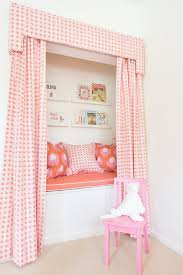kids reading bench pink kids reading nook with pink valance and curtains
