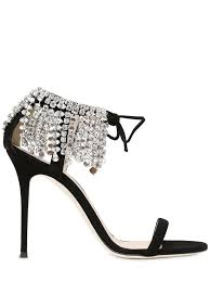 giuseppe zanotti design 105mm swarovski suede sandals black