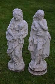 pair of statues garden ornaments vintage 68cm