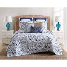 charcoal bedding 3 piece beautiful trendy blue white full queen quilt set paisley