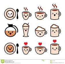 Types Of Coffee Mugs Cute Coffee Cappuccino And Espresso Kawaii Icon Set