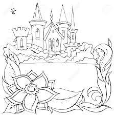 swallow flies over a castle fairy tale u201cthumbelina u201d stock photo