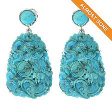 turquoise drop earrings dallas prince rocks sterling silver 1 75 36 x 25mm carved