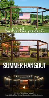 Backyard Little House Remodelaholic Tutorial Build An Amazing Diy Pergola And Firepit