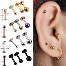 earrings on top of ear 5pcs surgical stainless steel tragus helix bar labret lip