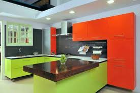 green orange modular kitchen design ideas modular kitchen design