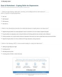 Coping Skills For Anxiety Worksheets Quiz Worksheet Coping Skills For Depression Study Com