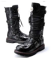 motorcycle footwear mens 2015 punk rock cool men u0027s high ankle fashion motorcycle army boot