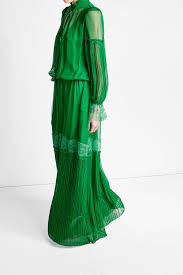 roberto cavalli silk dress with lace and pleats green women