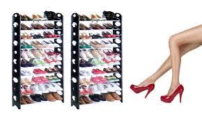 30 pair shoe cabinet 30 pair stackable shoe rack groupon