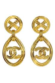 gold drop earrings vintage chanel cc gold drop earrings by decades vintage for 125