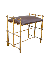 hollywood regency gilt metal vanity bench chairish