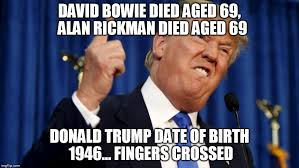 Fingers Crossed Meme - image tagged in donald trump alan rickman david bowie imgflip