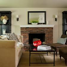 red brick fireplace in 1940s art deco apartment fireplaces